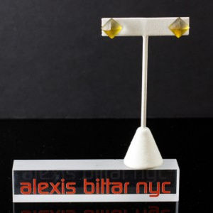 Golden Green Pyramid Lucite Post by Alexis Bittar